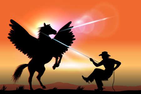 Cowboy Catches Pegasus On The Prairie