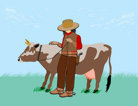 a cowboy holds a cow on a rope Illustration