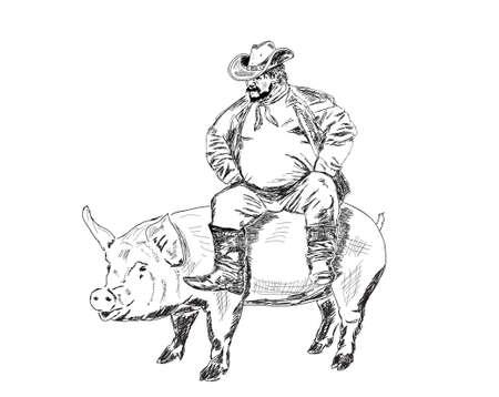 fat farmer sitting on a pig 스톡 콘텐츠 - 142627692