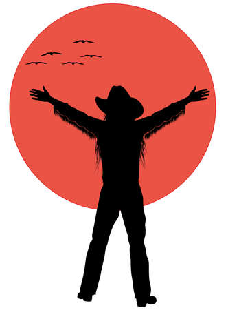 silhouette of a cowboy in front of the sun with flying birds 스톡 콘텐츠 - 142154195