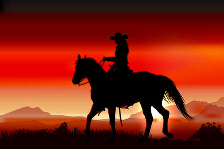 young woman rides in a canyon at sunset 일러스트
