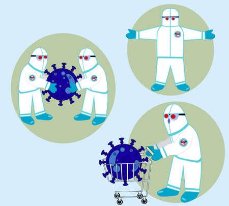 doctors and costume with coronavirus 일러스트