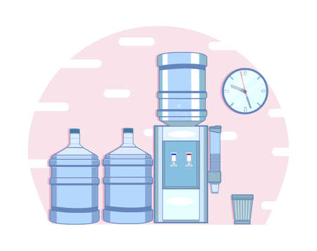 office cooler with water bottle, clock and bucket 일러스트