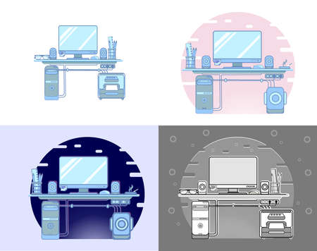 my workplace in different styles