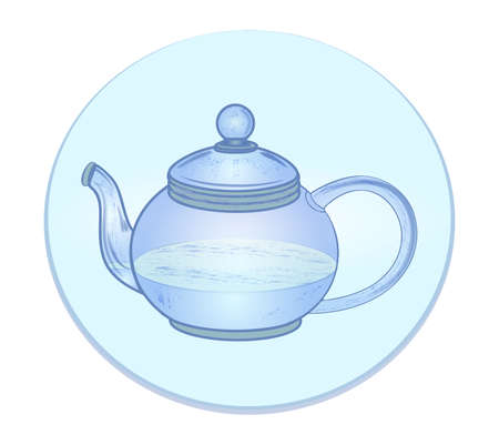blue teapot with water icon 向量圖像