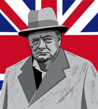 bust of British prime minister Winston Churchill 일러스트