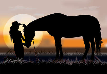 a woman kneels in front of a horse