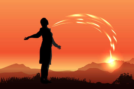 silhouette of a man on the background of sunset