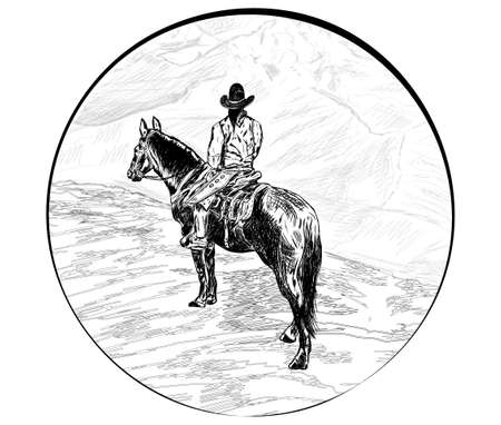 sketch horse rider stands over a cliff