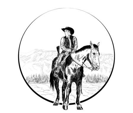 cowboy sitting on a horse behind the mountain