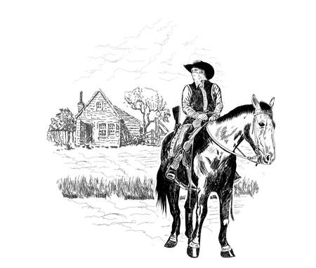 a cowboy on a horse stands in front of a house