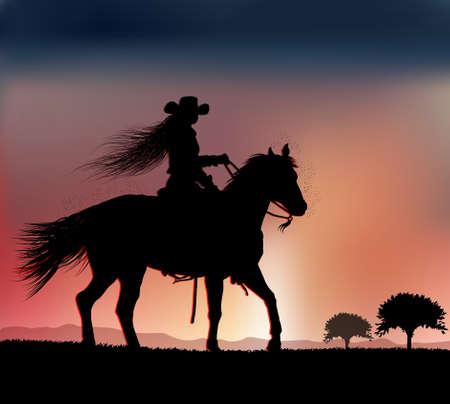 woman rides at sunset 스톡 콘텐츠