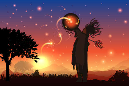 the shaman plays with the stars in the field