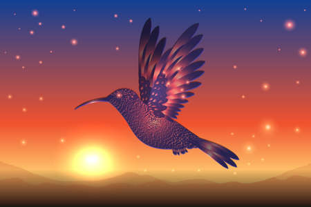 magical blue hummingbird flies against the background of the starry sky