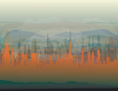blue magic city in the fog