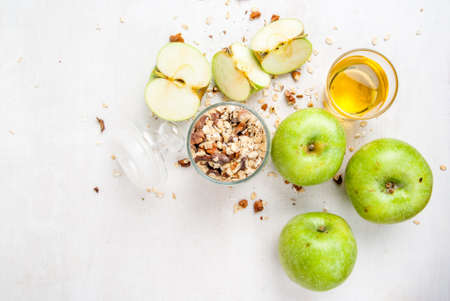 apple crumble: Selection of ingredients for cooking the traditional autumn apple crumble
