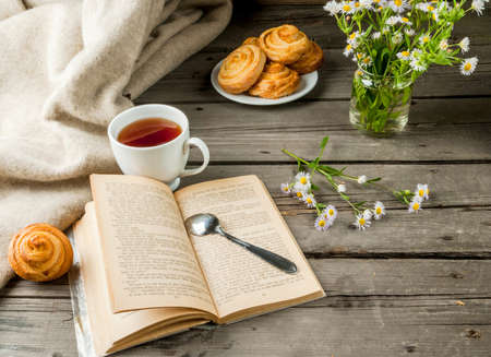 Cozy breakfast in spring or early autumn tea, freshly baked scones and bouquet of fields daisy and fascinating book. Copy space Stock Photo