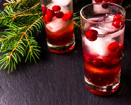 Refreshing cocktail with vodka with ice and cranberry, near christmas tree branches