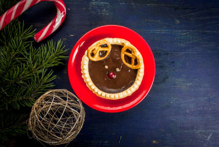 sandwitch: Christmas dessert in the form of a deer, top view Stock Photo