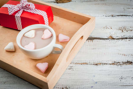 hot day: Hot chocolate with marshmallows in the shape of hearts, Valentines Day celebration, close view copy space