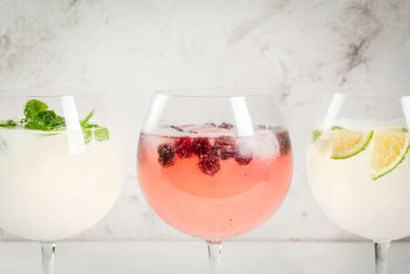 Selection of three kinds of gin tonic: with blackberries, with lime, with mint leaves. In glasses on a white background. Copy space close view