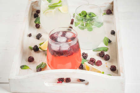 Selection of three kinds of gin tonic: with blackberries, with lime, with mint leaves. In glasses on a white tray, with ingredients. Copy space Stock Photo