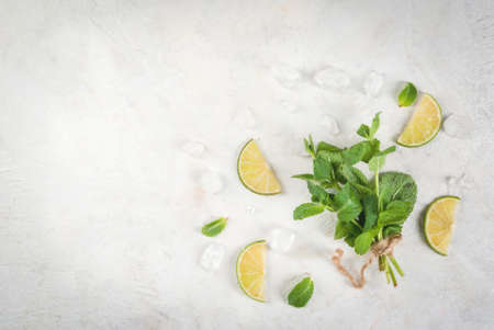 Fresh organic melissa mint and lime lemon on a white table, with ice cubes on a white stone table. Copy space  top view