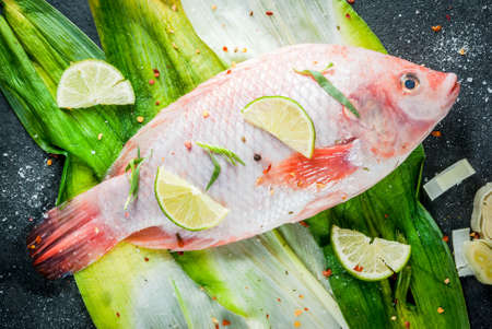 Fish. seafood. Asian and Eastern cuisine. Red tilapia on leeks with pieces of lime, herbs and spices. Pickled. Ready for baking, grilling. Top view copy space Stock Photo