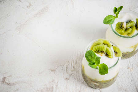 Two portions jars of fresh homemade organic Greek yogurt with kiwi puree, pieces of kiwi and mint. On a white stone table, copy space Imagens