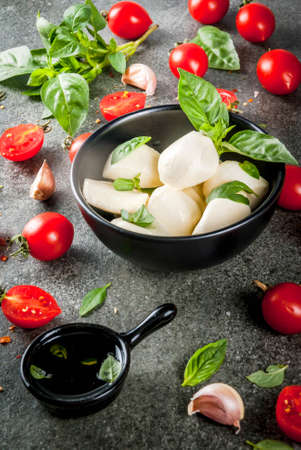Farm raw organic products. Cooking of dinner in Italian style. Ingredients for caprese salad, pasta, pizza. Basil, tomatoes, mozzarella cheese, olive oil. dark grey stone table. Copy space Stock Photo