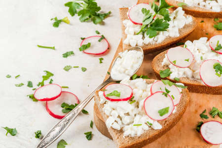 Homemade sandwich toasts with Cottage Cheese, radish and parsley on white table, copy space