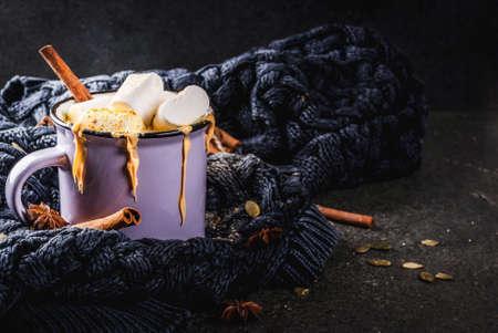 Warme dranken in de herfst en de winter. Ideeën voor Kerstmis, Thanksgiving, Halloween. Beker met hete pittige pompoen witte chocolade, met marshmallow en kaneel, anijs. Gezellig, met gebreide plaid. Ruimte kopiëren Stockfoto