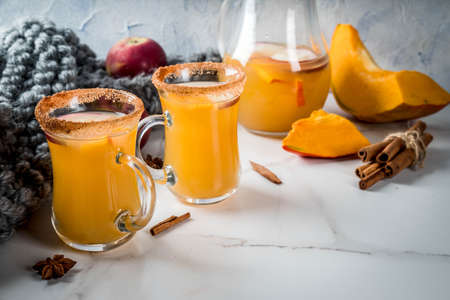 Halloween, Thanksgiving. Traditional autumn, winter drinks and cocktails. Spicy hot pumpkin sangria, with apple, cinnamon, anise. On a white marble table, in glass mugs. Selective focus, copy space