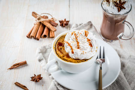 Recipes with pumpkins, fast food, microwave meal. Spicy pumpkin pie in mug, with whipped cream, ice cream, cinnamon, anise. On white wooden table, with cup of hot chocolate. Copy space Stockfoto