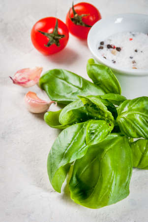 Food background. Ingredients, greens and spices for cooking lunch, lunch. Fresh basil leaves, tomatoes, garlic, onions, salt, pepper. On a white stone table. Copy space