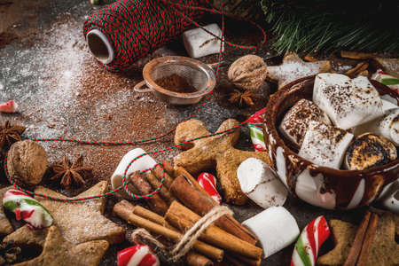 New Year, Christmas treats, sweets. Cup of hot chocolate with fried marshmallow, ginger star cookies, gingerbread men, striped candy, spices cinnamon anise, cocoa, powdered sugar.  Copy space Banque d'images