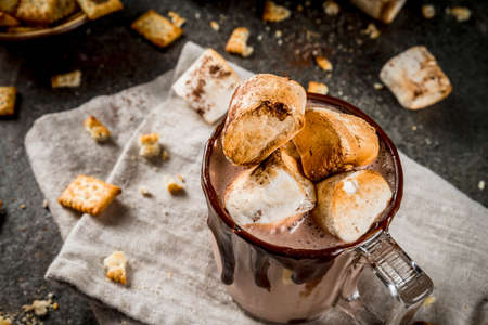 Traditional fall and winter cocktails, alcohol. Campfire hot chocolate eggnog cocktail with salted crackers and roasted marshmallow, in two mugs, on black stone table, copy space Stockfoto