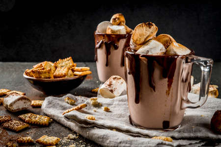 Traditional fall and winter cocktails, alcohol. Campfire hot chocolate eggnog cocktail with salted crackers and roasted marshmallow, in two mugs, on black stone table, copy space Banque d'images