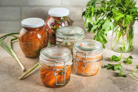발효 식사의 개념입니다. 가정 통조림 식품 및 billets. 채식주의 자 음식. 야채. 통조림 용 살사, 소금에 절인 양배추, 절인 당근, 김치, 콜리 플라워 브로