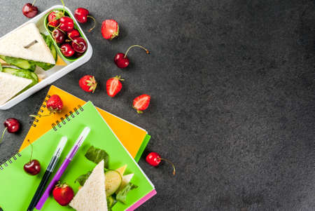 Back to school. A hearty healthy school lunch in a box: sandwiches with vegetables and cheese, berries and fruits (apples) with notebooks, colored pens on a black table. Copy space top view Stockfoto