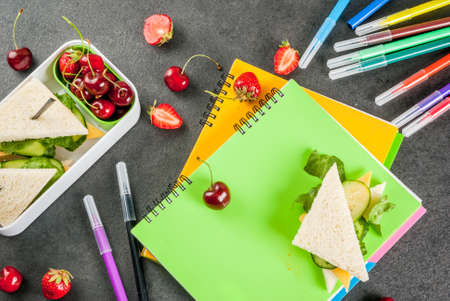 Back to school. A hearty healthy school lunch in a box: sandwiches with vegetables and cheese, berries and fruits (apples) with notebooks, colored pens on a black table. Copy space Stockfoto