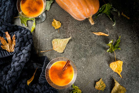 Fall and winter drinks. Thanksgiving and Halloween cocktails. Pumpkin pie margarita with cinnamon stick, on black stone table. Cozy home, with autumn leaves, plaid, pumpkin, copy space top view Фото со стока - 84358710