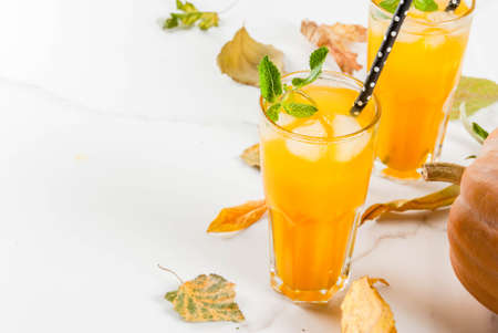 Fall and winter cold cocktails. Spicy pumpkin mojito with fresh mint, on white marble table. copy space