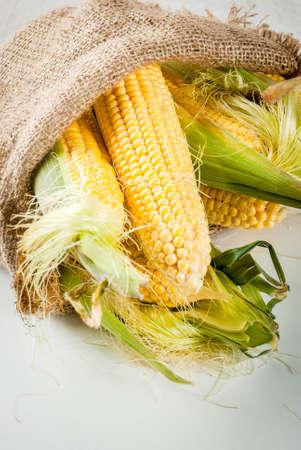 Fresh raw organic farm corn in a bag, on a white marble table. Copy space
