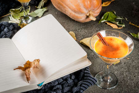 Fall and winter drinks. Thanksgiving and Halloween cocktails. Pumpkin pie margarita with cinnamon stick, on black stone table. Cozy home, with autumn leaves, plaid, pumpkin, book, copy space Stock Photo