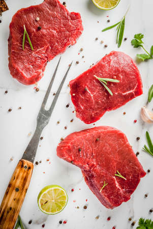 Fresh raw meat. Beef tenderloin, steaks, on a white marble table. With olive oil, spices for cooking - basil, rosemary, coriander, parsley, garlic, lemon, salt, pepper. Top view copy space Lizenzfreie Bilder