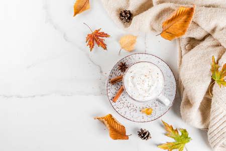 가을 뜨거운 음료. 호박 라 떼 휘 핑된 크림, 계 피와 스웨터 (담요)가 단풍과 전나무 콘 흰색 대리석 테이블에 아니 스. 공간 위쪽보기 복사 스톡 콘텐츠