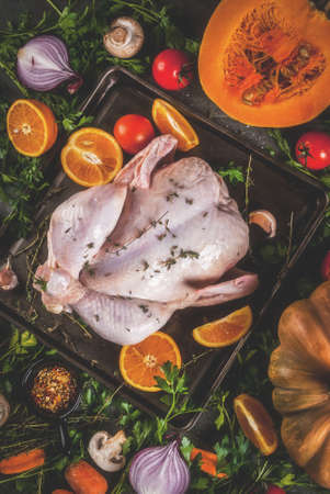 Cooking dinner for christmas, Thanksgiving. Traditional autumn ingredients are vegetables, pumpkin, mushrooms, chicken or turkey, fresh herbs, spices. On a dark table, Top view