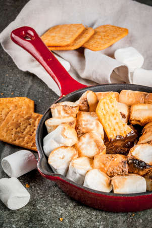 Indoor s'mores, baked s'mores dip in a cast iron skillet pan with graham crackers., dark grey table, copy space
