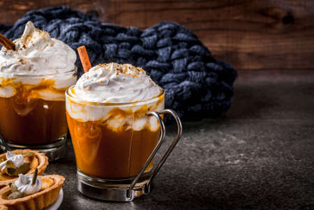 Traditional autumn dishes. Halloween, Thanksgiving. Hot and spicy aromatic pumpkin latte with cinnamon on black stone table, with blanket. Copy space Banque d'images